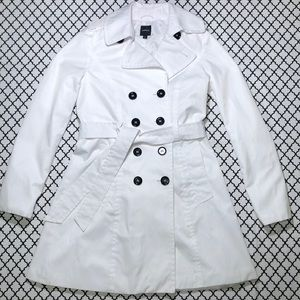 Express White Button Up Fashion Trench Coat <3